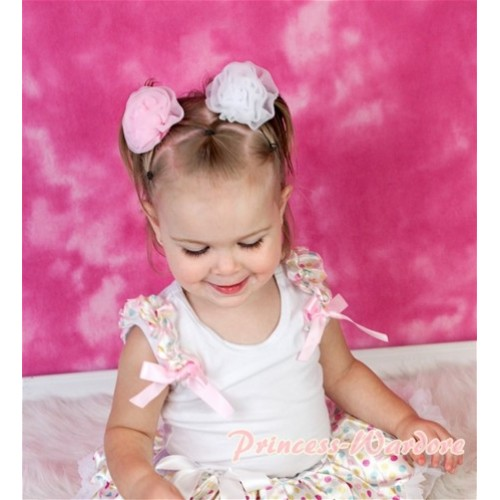 White Tank Top & White Rainbow Dot Ruffles & Light Pink Bow NT112-1