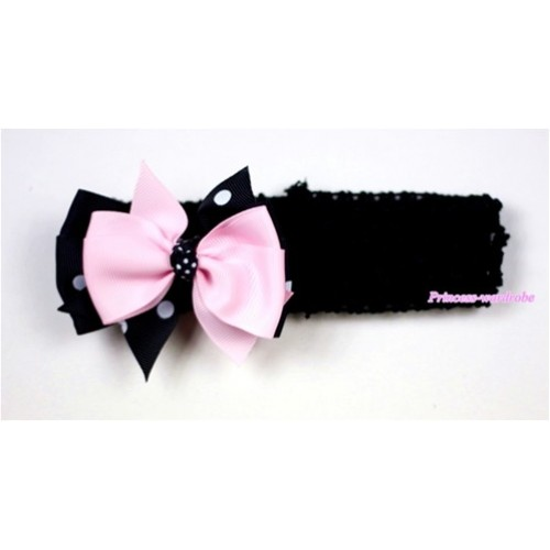 Black Headband with Black White Polka Dots mix Light Pink Ribbon Hair Bow Clip H441