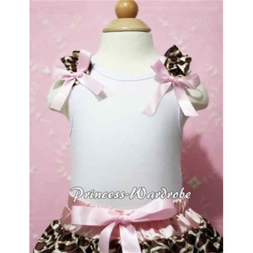 White Baby Tank Top & Giraffe Ruffles & Light Pink Bow NT100-1