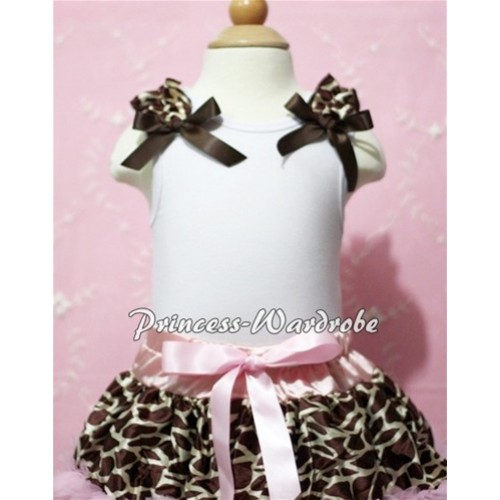 White Baby Tank Top & Giraffe Ruffles & Brown Bow NT101-1