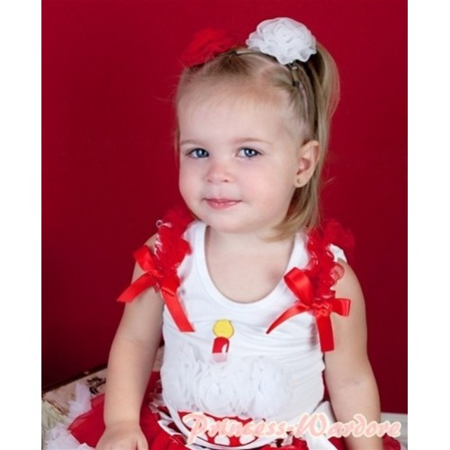 White Baby Tank Top & White Rosettes Minnie Dot Birthday Cake & Red Ruffles & Red Bow NT127-1