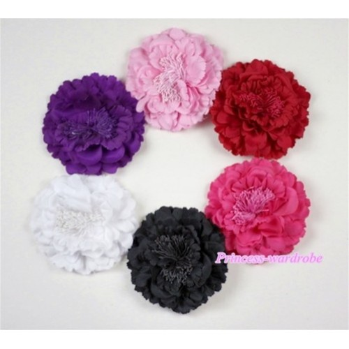 LOT Of 6 Pcs Peony Flowers Hair Pin H444