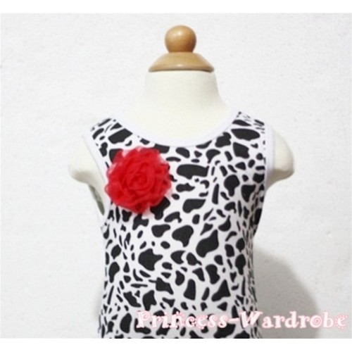 Milk Cow Print Baby Tank Top & One Red Rosettes NT80