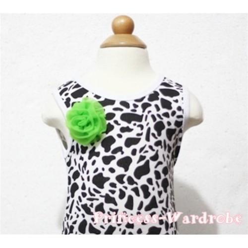 Milk Cow Print Baby Tank Top & One Dark Green Rosettes NT84