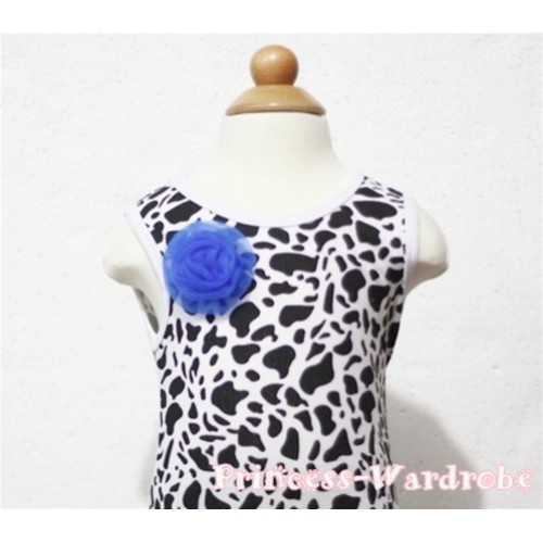 Milk Cow Print Baby Tank Top & One Royal Blue Rosettes NT86