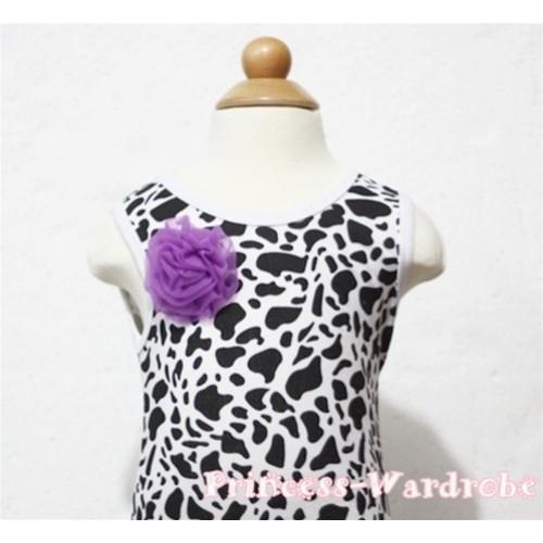 Milk Cow Print Baby Tank Top & One Dark Purple Rosettes NT87
