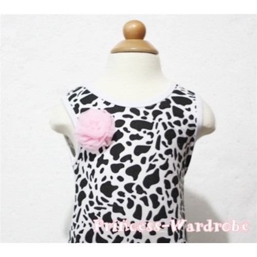 Milk Cow Print Baby Tank Top & One Light Pink Rosettes NT93