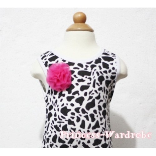 Milk Cow Print Baby Tank Top & One Hot Pink Rosettes NT94