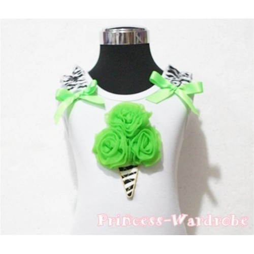 Dark Green Zebra Ice Cream White Tank Top with Zebra Ruffles and Dark Green Ribbon TB107