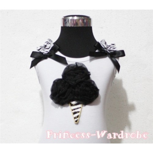 Black Zebra Ice Cream White Tank Top with Zebra Ruffles and Black Ribbon TB112