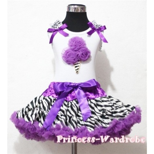 Dark Purple Zebra Pettiskirt With Dark Purple Rosettes Zebra Ice Cream White Tank Top with Zebra Ruffles & Dark Purple Bow MT03