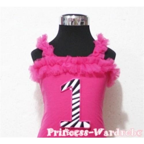 1st Hot Pink Zebra Printing Spaghetti Strap Ruffle Pettitop Top TM103