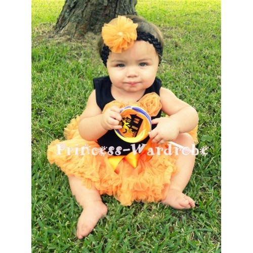 Black Newborn Pettitop & Orange Rosettes with Orange Newborn Pettiskirt NG167