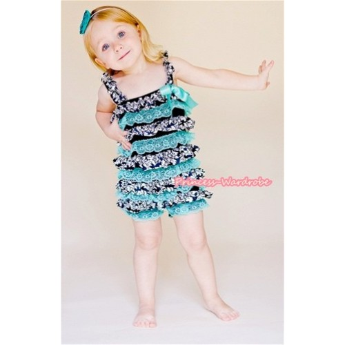 Damask Aqua Blue Layer Chiffon Romper with Aqua Blue Bow & Straps LR120
