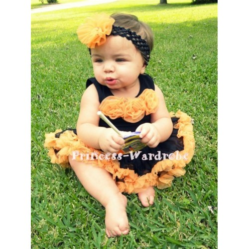 Black Newborn Pettitop & Orange Rosettes with Black Orange Newborn Pettiskirt NG190