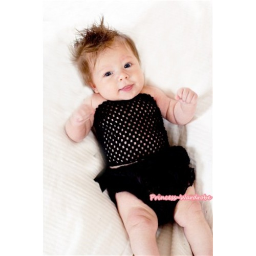 Black Crochet Tube Top,Black Romantic Rose Panties Bloomers With Cute Big Bow CT464