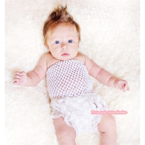 White Crochet Tube Top,White Romantic Rose Panties Bloomers With Cute Big Bow CT465