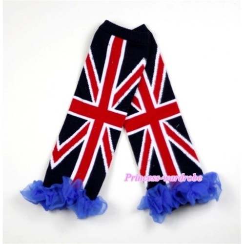 Newborn Baby Black British Flag Leg Warmers Leggings with Blue Ruffles LG159