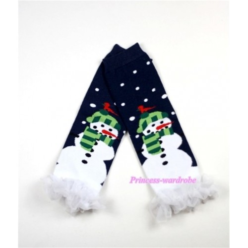 Newborn Baby Black Snowman Leg Warmers Leggings with White Ruffles LG174