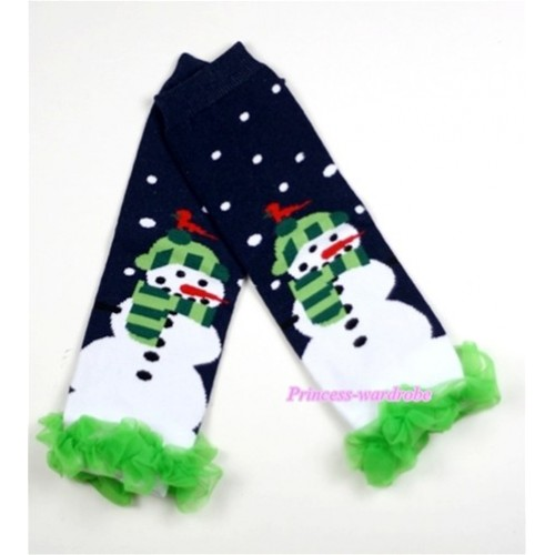 Newborn Baby Black Snowman Leg Warmers Leggings with Green Ruffles LG175