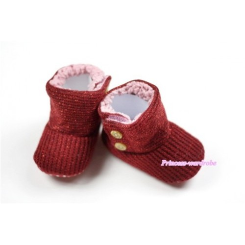 Sparkle Wine Red Baby Crib Boots SB15