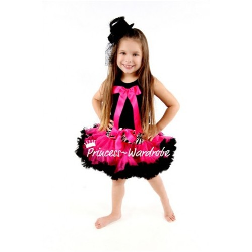 Black Pettitop with Cute Hot Pink Big Bow with Zebra Hot Pink Mix Pettiskirt TM116
