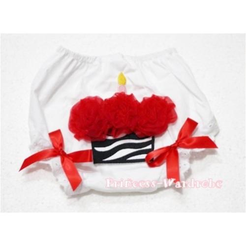 White Bloomer & Hot Red Zebra Cupcake & Red Bows BD01