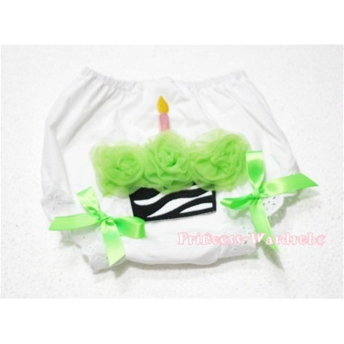 White Bloomer & Lime Green Zebra Cupcake BD04