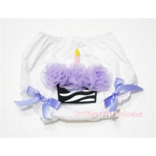 White Bloomer & Lavender Zebra Cupcake BD09