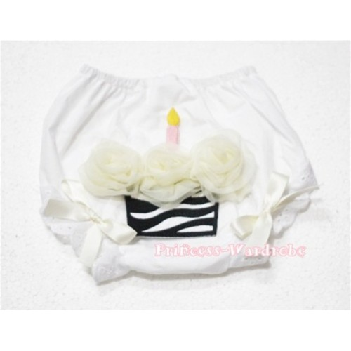White Bloomer & Cream White Zebra Cupcake BD12