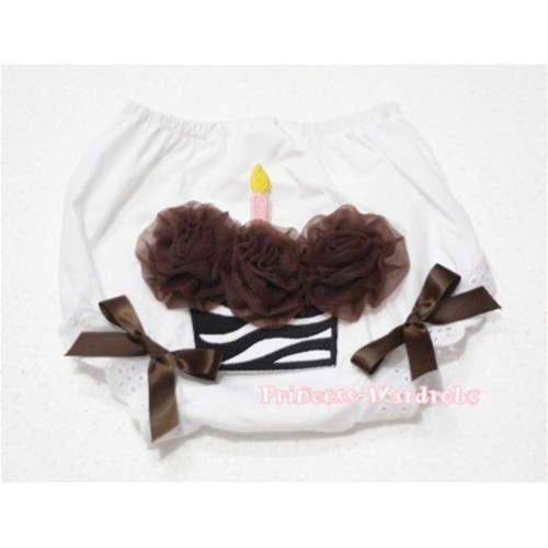 White Bloomer & Brown Zebra Cupcake BD13