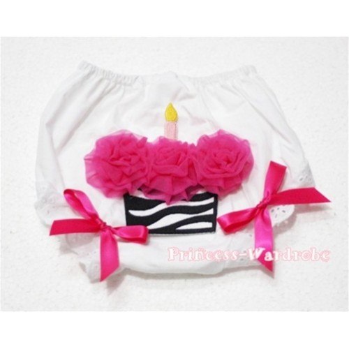 White Bloomer & Hot Pink Zebra Cupcake & Hot Pink Bow BD14