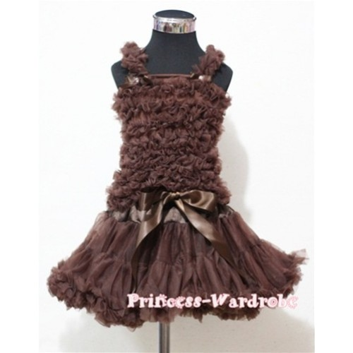 Brown Pettiskirt with Matching Brown Ruffles Tank Top MR120