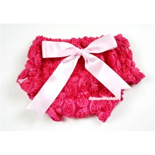 Hot Pink Romantic Rose Panties Bloomers With Light Pink Bow BR42