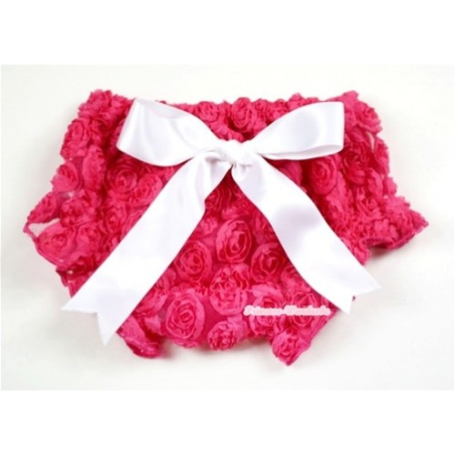 HoT Pink Romantic Rose Panties Bloomers With White Bow BR43