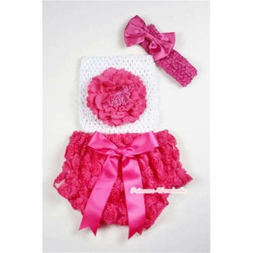 Hot Pink Rose Panties Bloomers with Hot Pink Peony White Crochet Tube Top and Hot Pink Bow Hot Pink Headband 3PC Set CT466