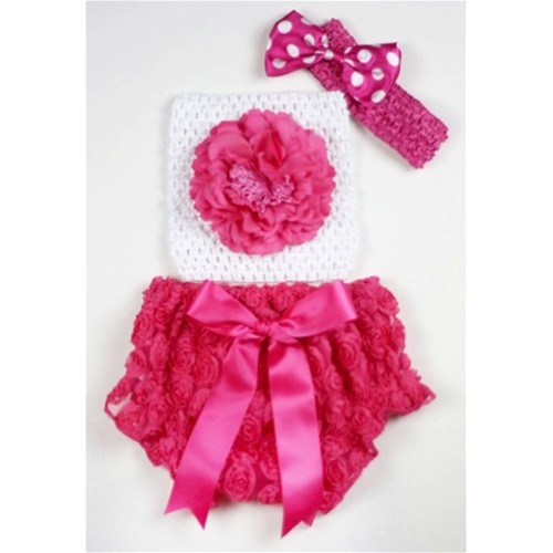 Hot Pink Rose Panties Bloomers with Hot Pink Peony White Crochet Tube Top and Hot Pink White Polka Dots Bow Hot Pink Headband 3PC Set CT467
