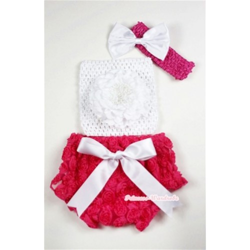 Hot Pink Rose Panties Bloomers with White Peony White Crochet Tube Top and White Bow Hot Pink Headband 3PC Set CT468