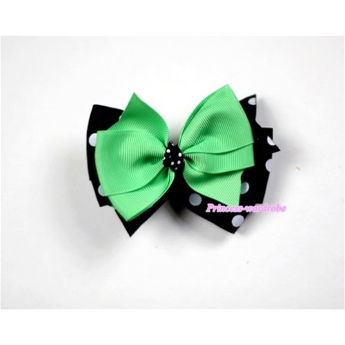 Green & Black White Polka Dots Ribbon Bow Hair Clip H446