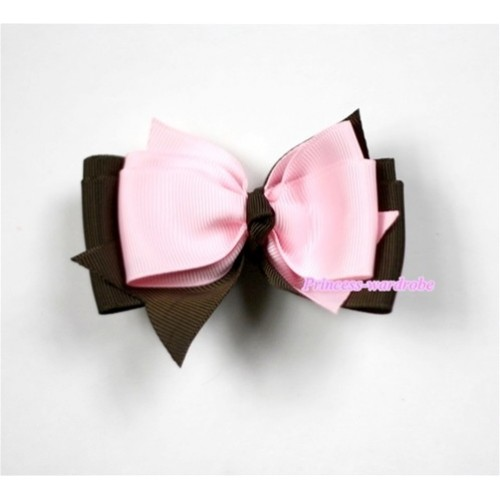 Light Pink Brown Ribbon Bow Hair Clip H451