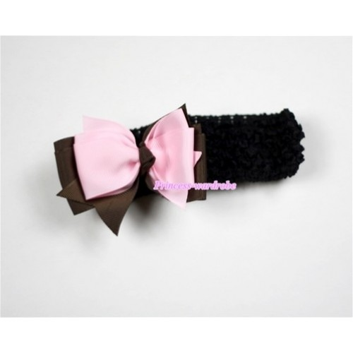 Black Headband with Brown & Light Pink Ribbon Hair Bow Clip H454