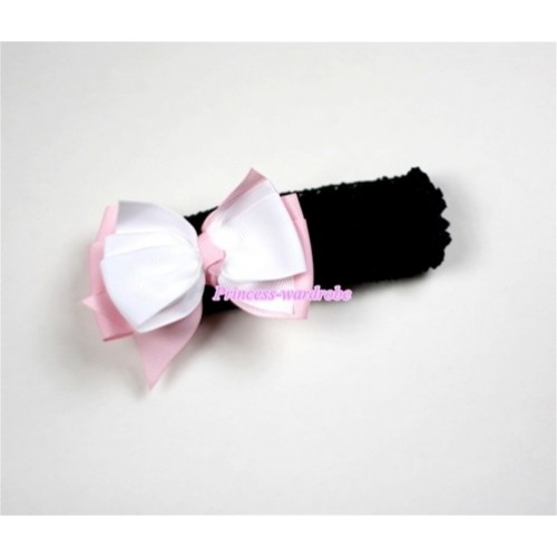 Black Headband with White & Light Pink Ribbon Hair Bow Clip H458