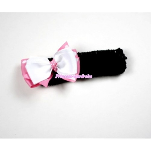 Black Headband with White & Light Pink White Polka Dots Ribbon Hair Bow Clip H463