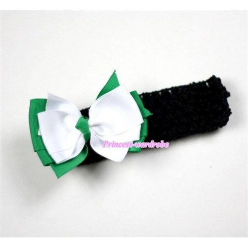 Black Headband with Green & White Ribbon Hair Bow Clip H471
