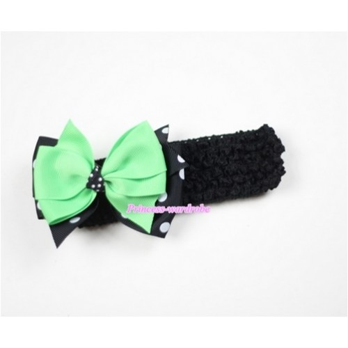 Black Headband with Black White Polka Dots & Green Ribbon Hair Bow Clip H475
