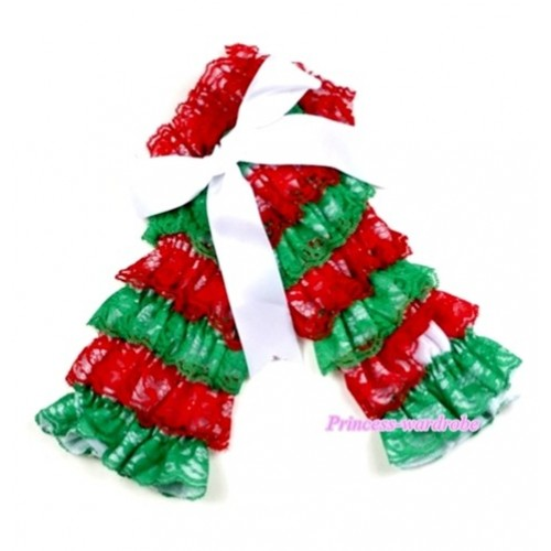 Baby Green Red Lace Leg Warmers Leggings with White Ribbon LG194