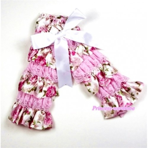 Baby Light Pink &Rosettes Fusion Print Lace Leg Warmers Leggings with White Ribbon  LG205
