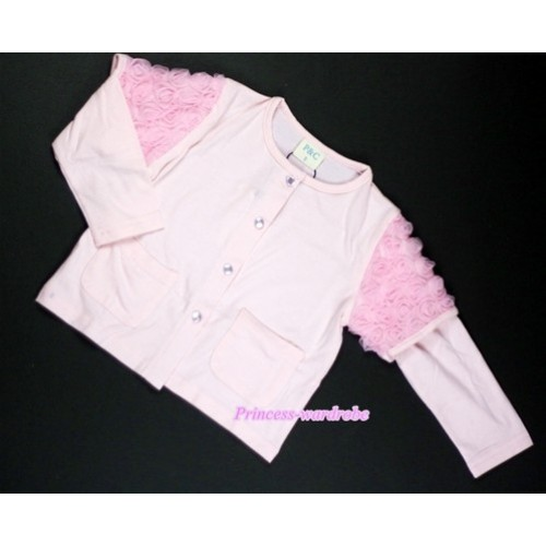 Light Pink Long Sleeve Coat with Light Pink Rosettles T455