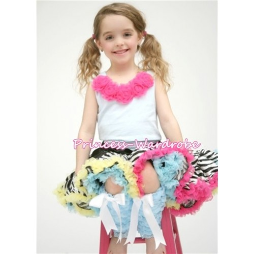 White Tank Top with Hot Pink Rosettes & Rainbow Zebra Pettiskirt MG817