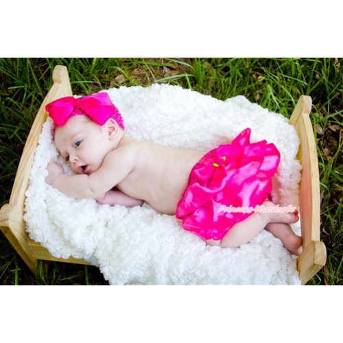 Hot Pink Satin Bloomers with Hot Pink Rose Ribbon B064